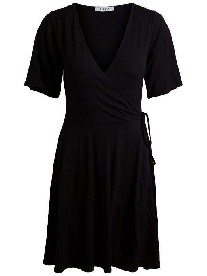 Pieces Effen korte mouwen jurk zwart