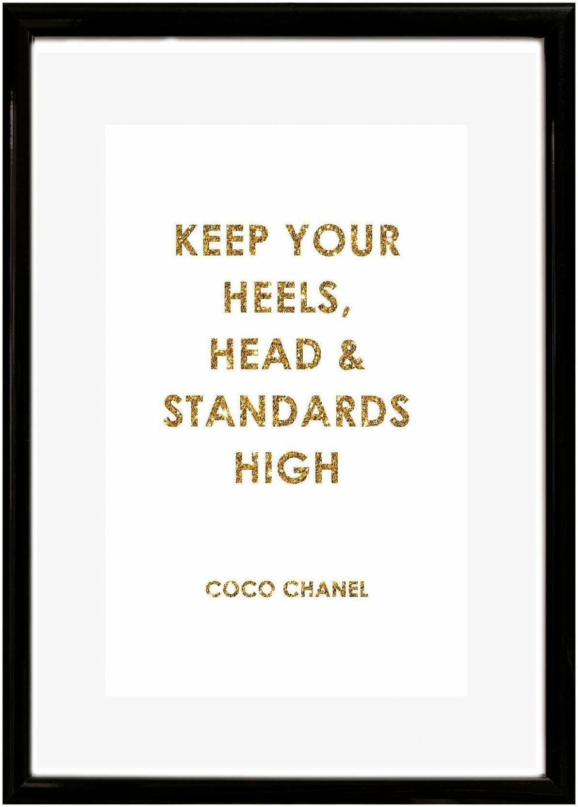 Leonique wanddecoratie Quote: keep your heels, … 30/40 cm, ingelijst nu online kopen bij OTTO