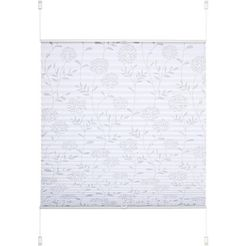 liedeco plissé etskant klemmfix-plisségordijn etskant decor in bloemmotief (1 stuk) wit