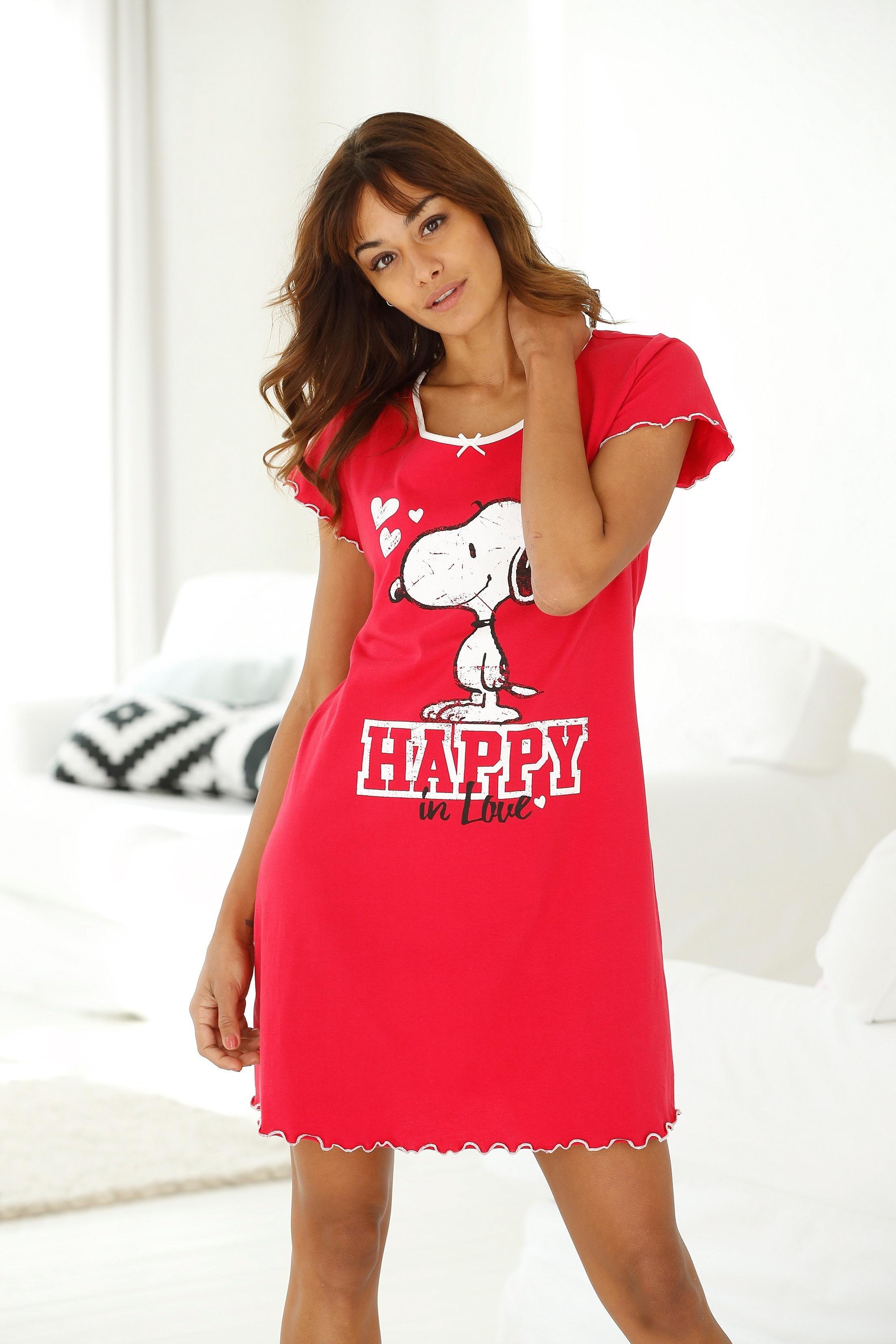 Peanuts nachthemd met Snoopy print en rimpelrandjes nu online bestellen