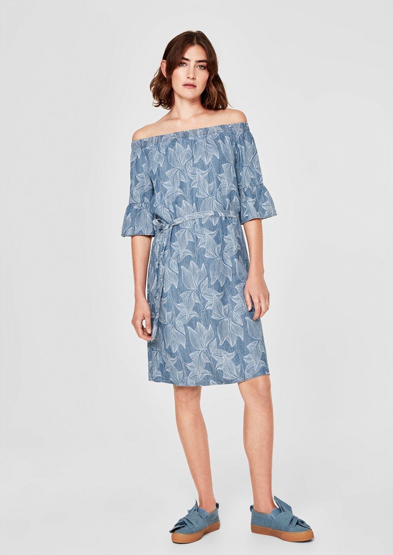 s.Oliver RED LABEL Off-shoulder jurk van een linnenmix voordelig en veilig online kopen