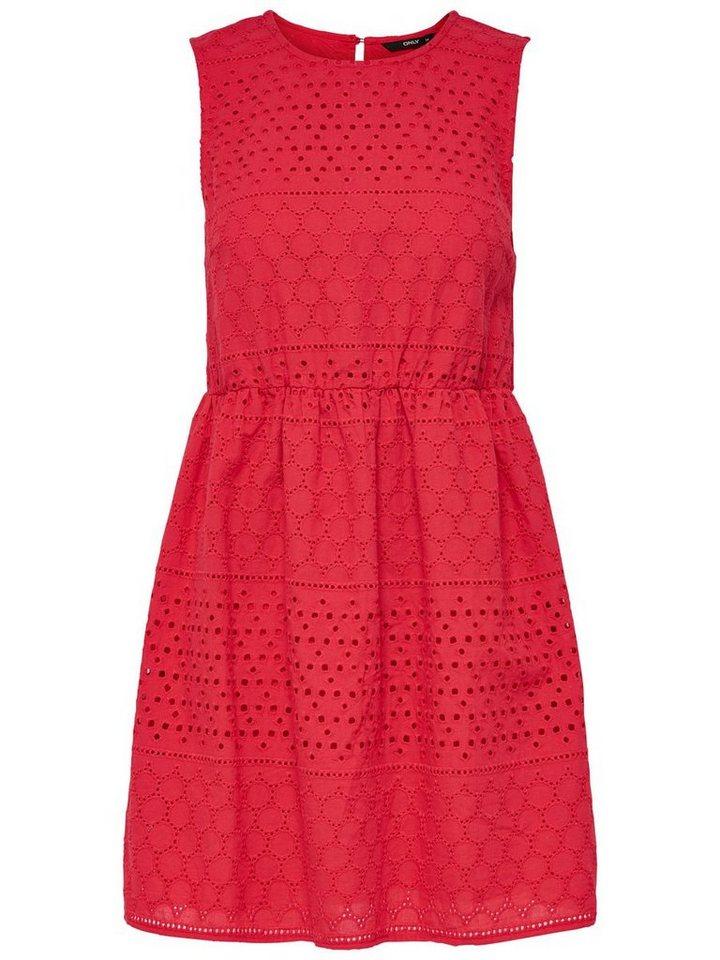 ONLY Gehaakte Mouwloze jurk rood