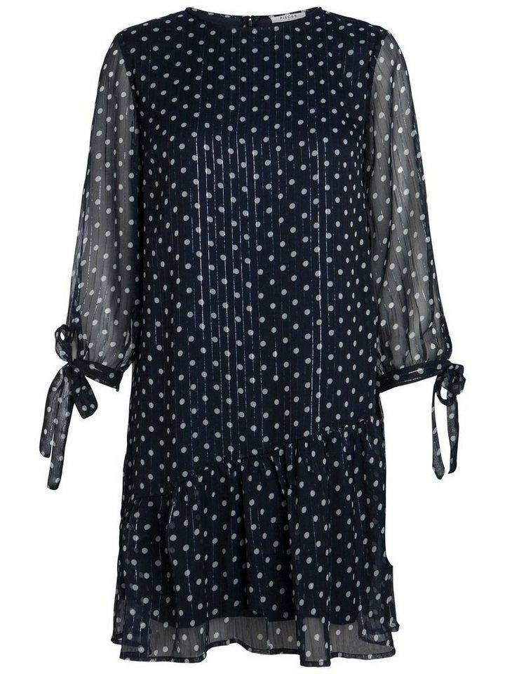 Pieces 3/4-mouw stippen jurk blauw