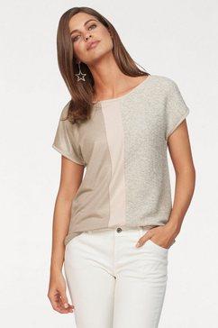 laura scott t-shirt met glanseffecten beige
