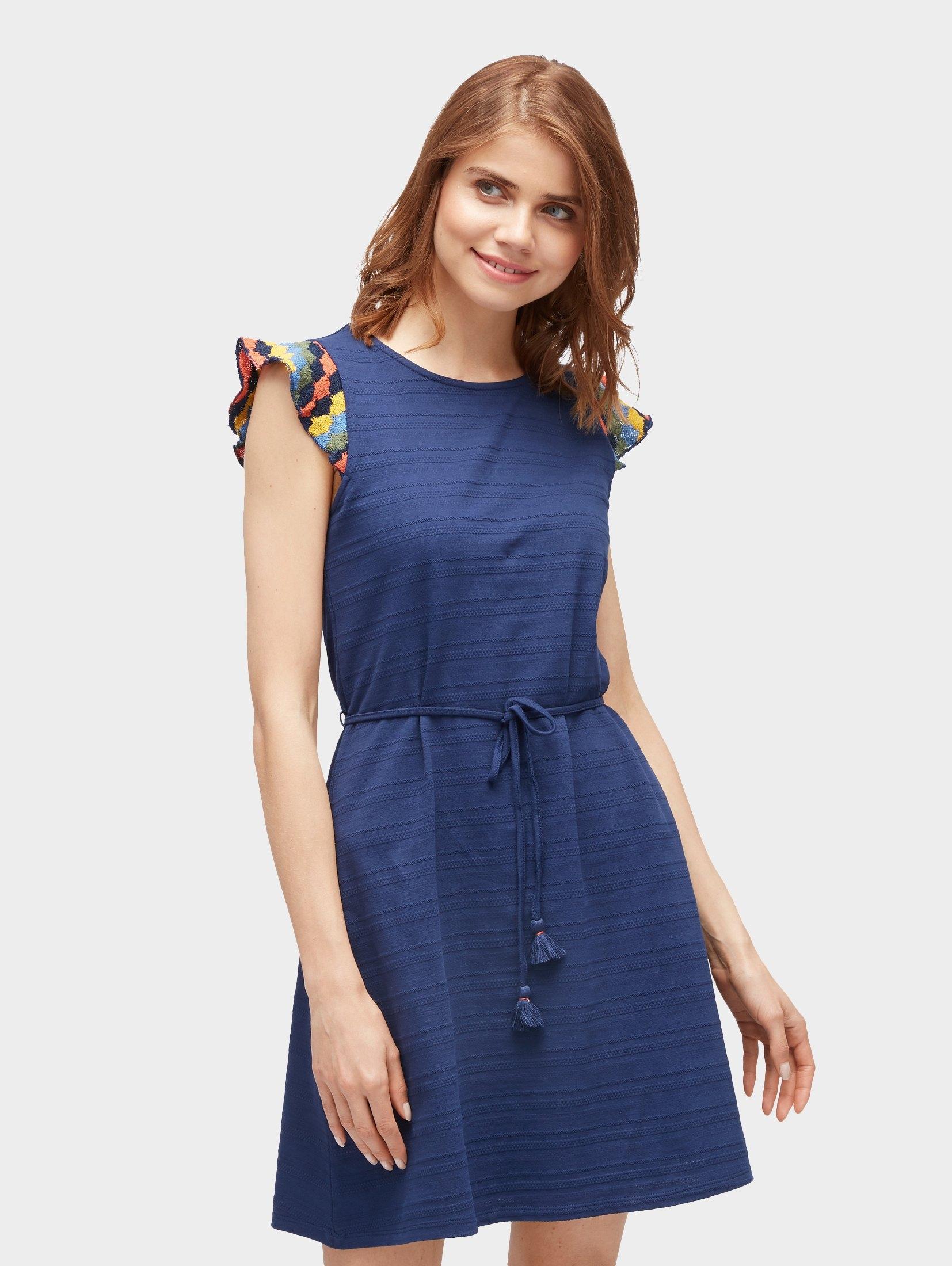 TOM TAILOR Denim zomerjurk »jurk met gestreepte mouwen« voordelig en veilig online kopen