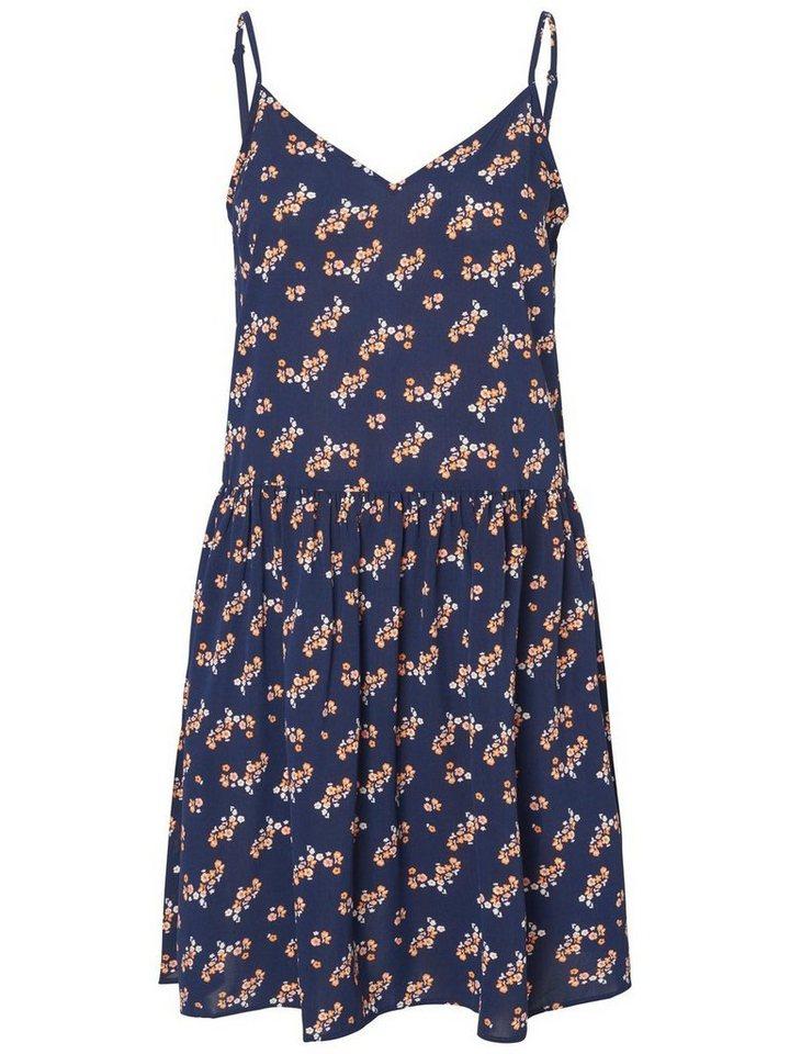 Pieces Mouwloze bloemenprint jurk blauw