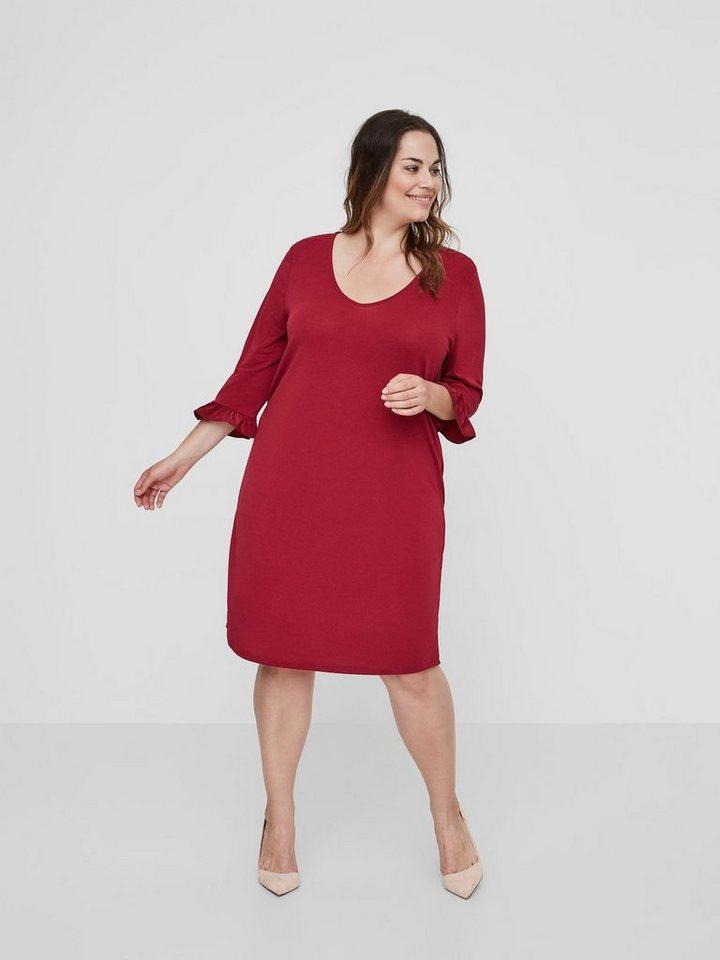 Junarose 3/4-mouwen jurk rood