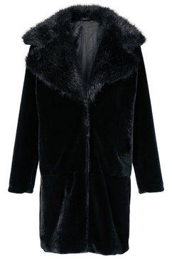 mantel van imitatiebont zwart
