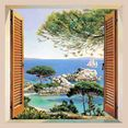 home affaire wanddecoratie a. d. missier - finestra sul mediterraneo met frame multicolor