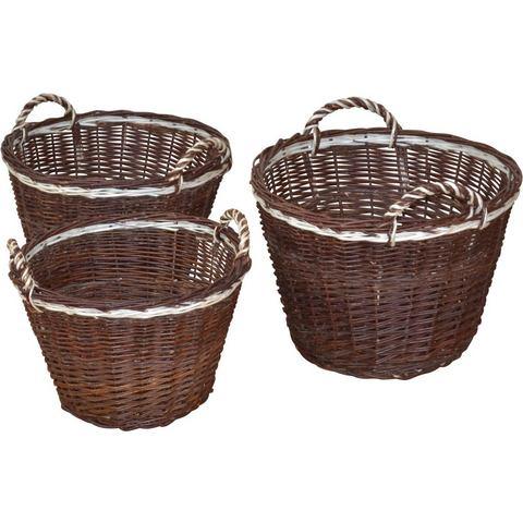 Met de hand gevlochten manden van wilgenteen, set van 3