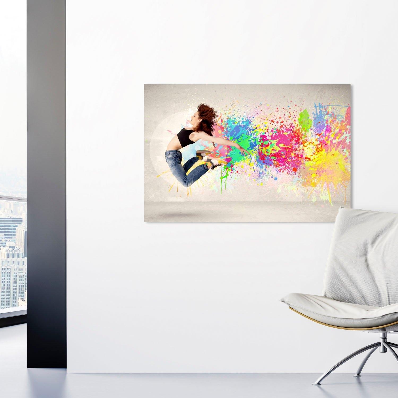 queence artprint op acrylglas Springende vrouw - gratis ruilen op otto.nl