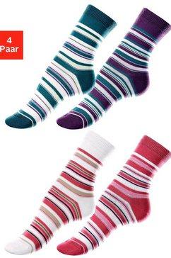 lavana sokken met streepdessin (4 paar) multicolor