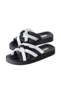 badslippers met voetbed zwart