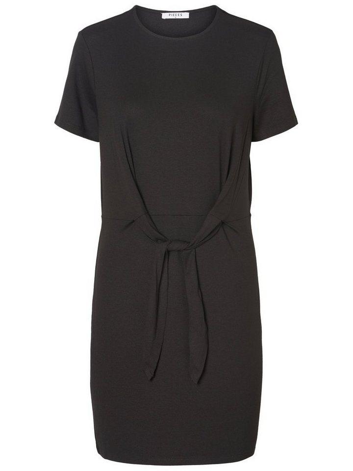 Pieces Gestreepte korte mouw jurk zwart