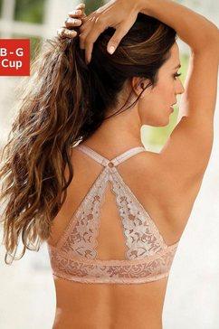 lascana beha met steuncups en prachtige kanten achterkant beige
