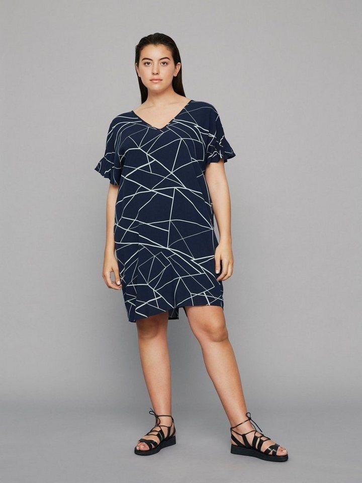 Junarose Grafische print jurk blauw