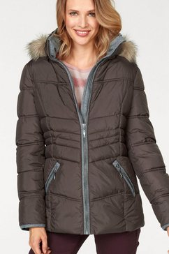 aniston casual gewatteerde jas met winterwarme voering bruin