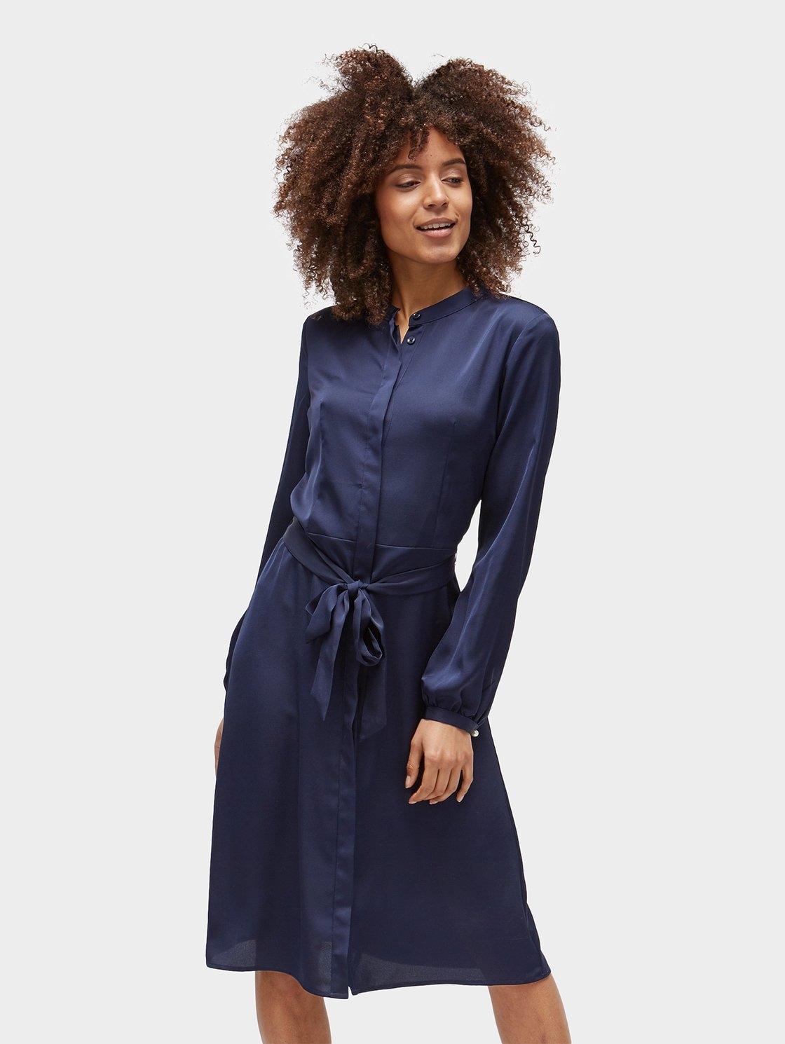 blauwe blousejurk