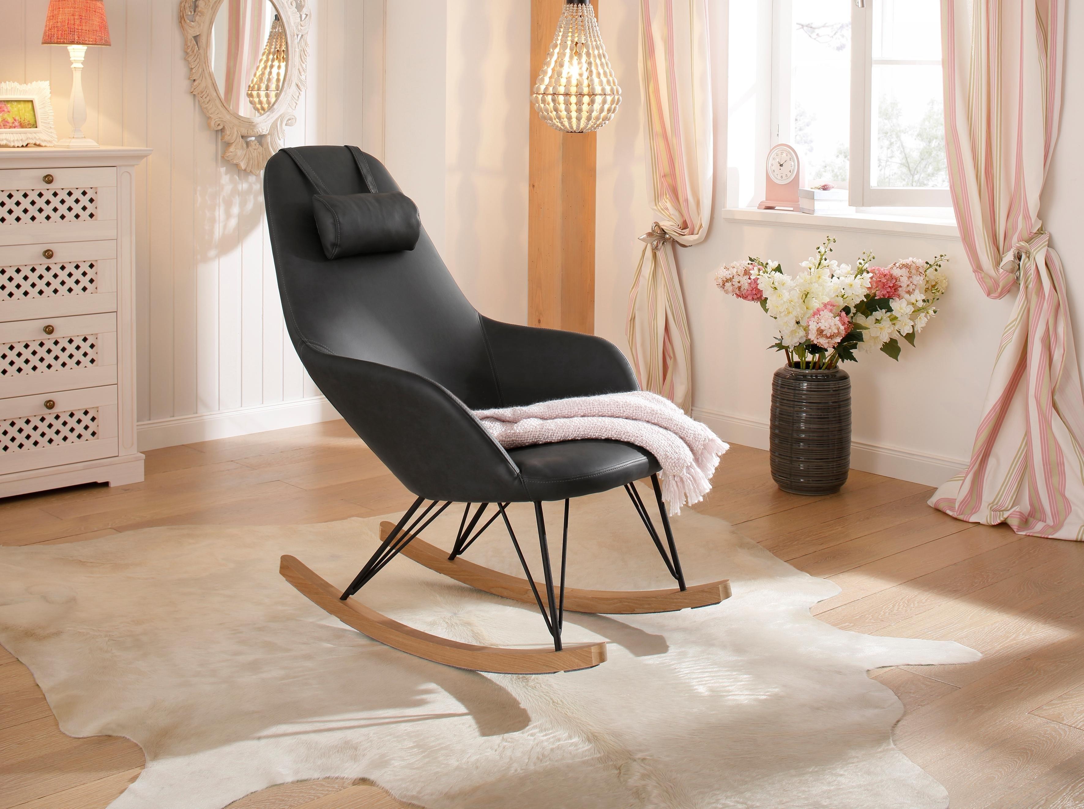 Op zoek naar een Home Affaire »Nashville« schommelstoel, stalen poten, houten delen, moderne look, romp zacht verdikt? Koop online bij OTTO