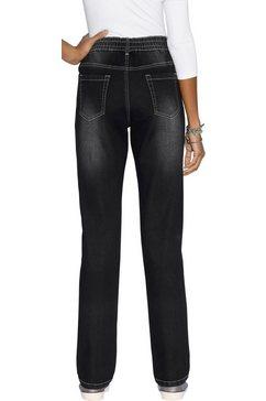 classic basics jeans met elastische band rondom zwart
