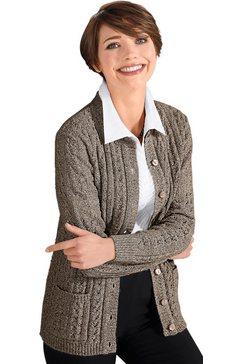 classic basics vest met een mooi vormgegeven ajourmotief voor bruin