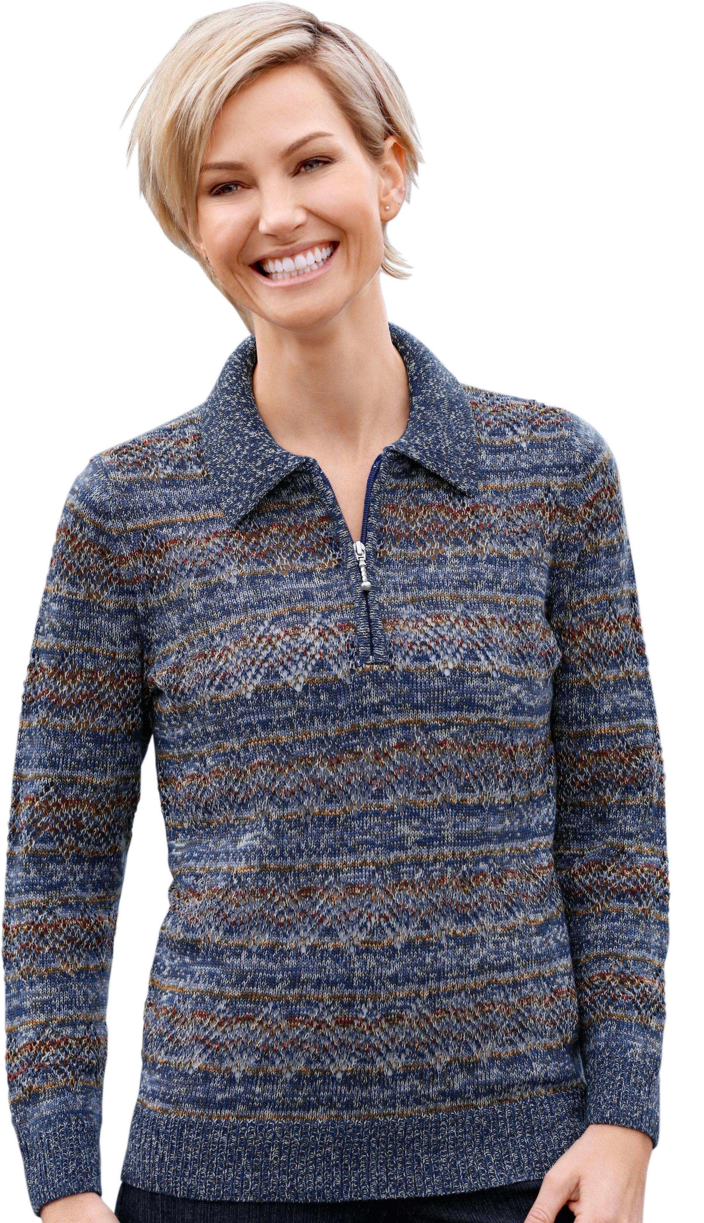Casual Looks trui met strepen- en ajourmotief voordelig en veilig online kopen