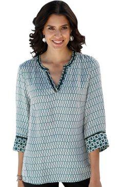 classic inspirationen blouse met mooie randprint groen