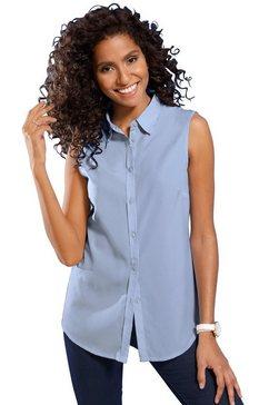 classic basics mouwloze blouse met een iets afgeronde zoom blauw