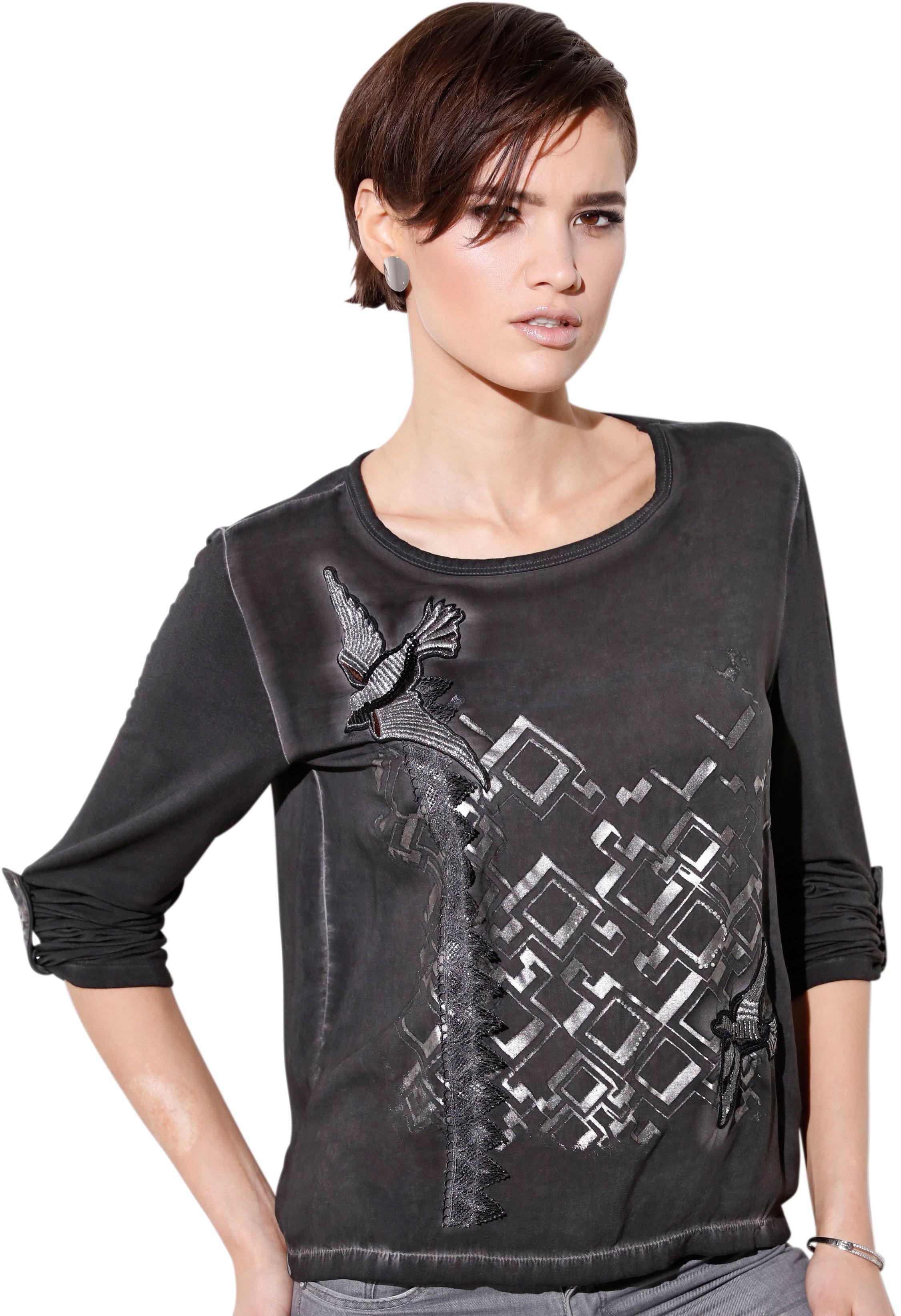 Création L Zilverkleurige Shirt Verkrijgbaar Met Online Folieprint nOywvmN80P