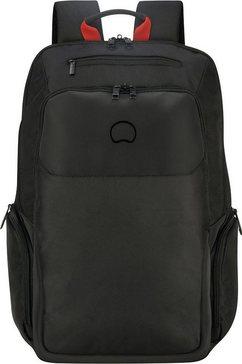 delsey laptoprugzak parvis plus, 2 vakken, 17,3 inch zwart