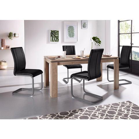Steinhoff eettafel Maik, breedte 140 cm en 4 vrijdragende stoelen Lilly