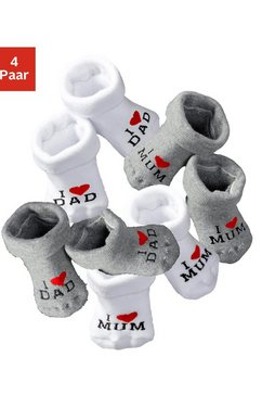 vivance babysokjes »i love mum«, »i love dad« set van 4 paar multicolor