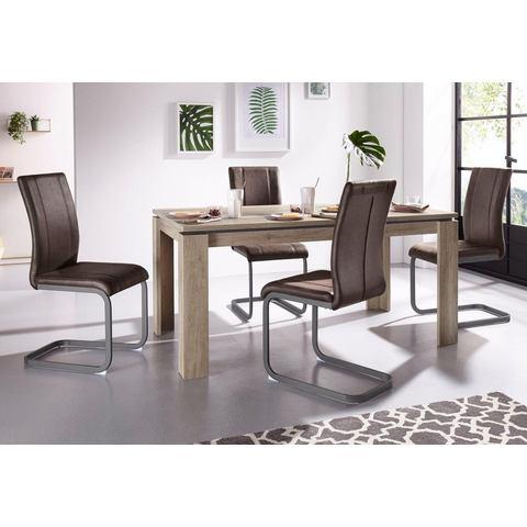 Steinhoff eettafel Maik, breedte 160 cm en 4 vrijdragende stoelen Lilly