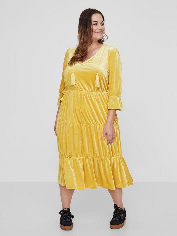 Junarose Velours jurk geel