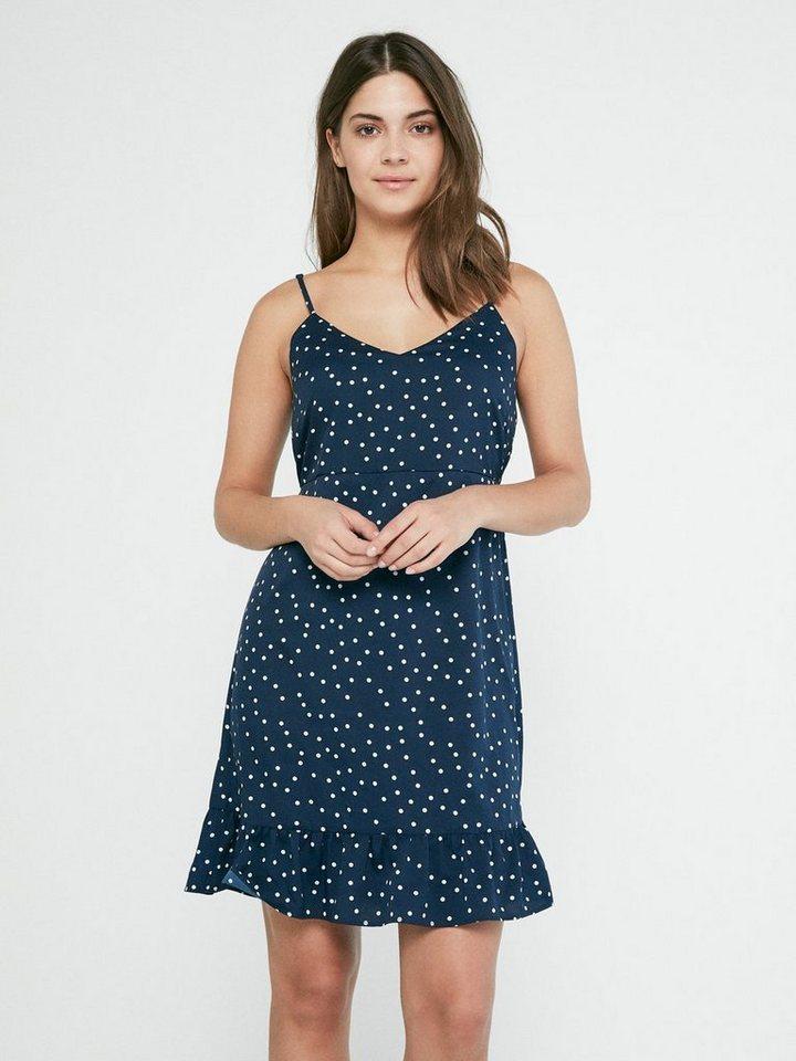 Pieces Gestippelde mouwloze jurk blauw