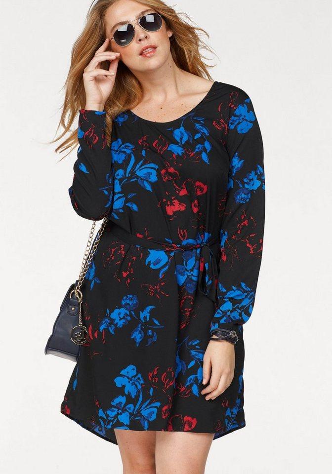 Junarose gedessineerde jurk zwart
