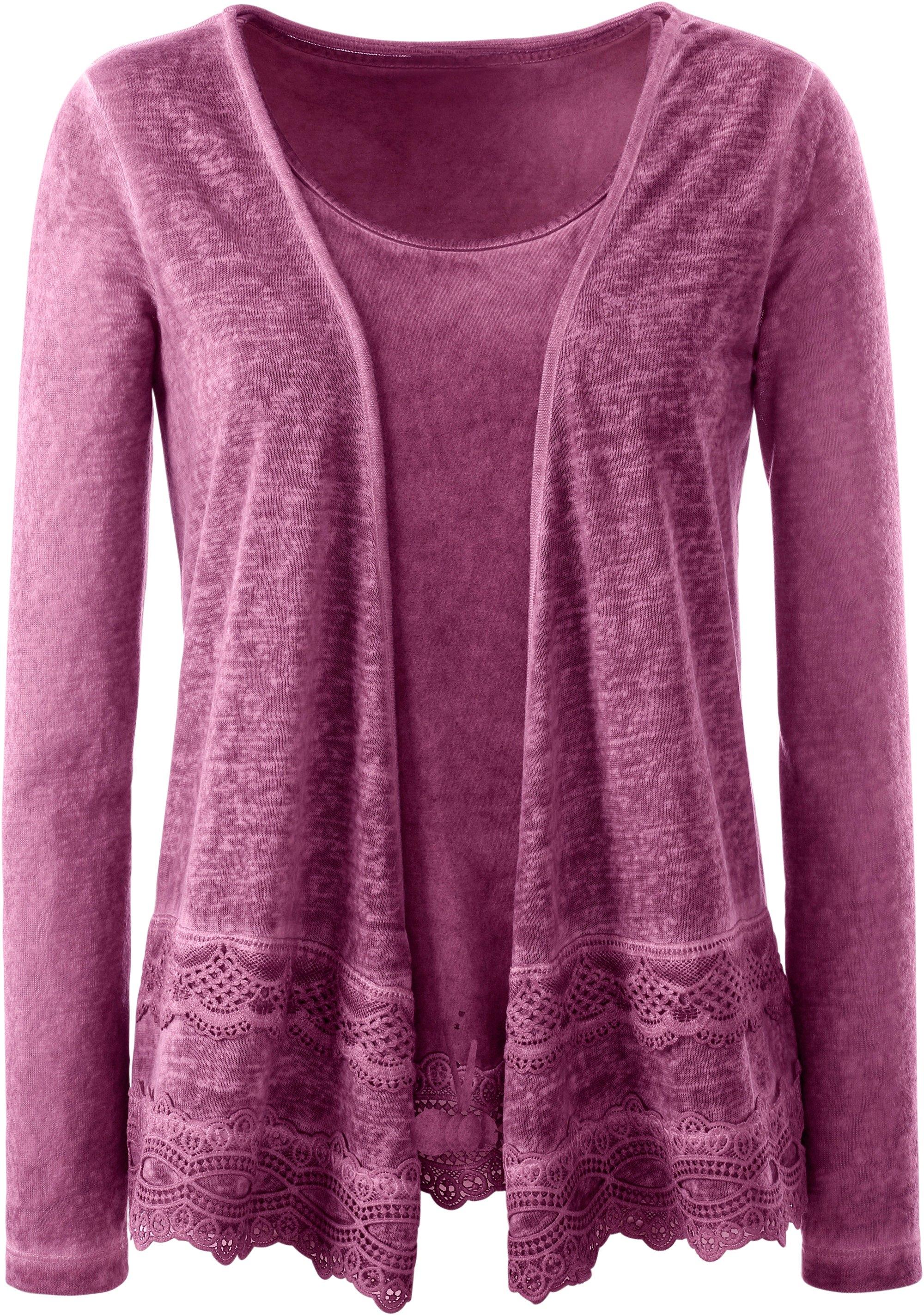 Ambria shirtjasje met royale kanten zoom bestellen: 14 dagen bedenktijd