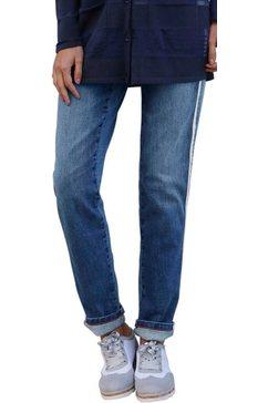 création l jeans met vlotte glinsterstrepen blauw