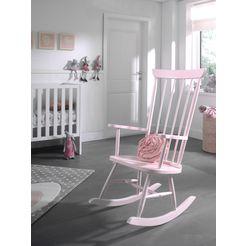 vipack schommelstoel rocky van massief hout roze