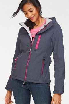 superdry softshell-jack »hooded winter windtrekker« blauw