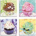 artland artprint op linnen cupcakes (4 stuks) multicolor