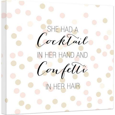 artprint op linnen Confetti & Cream Cocktail in her Hand and Confetti in hair