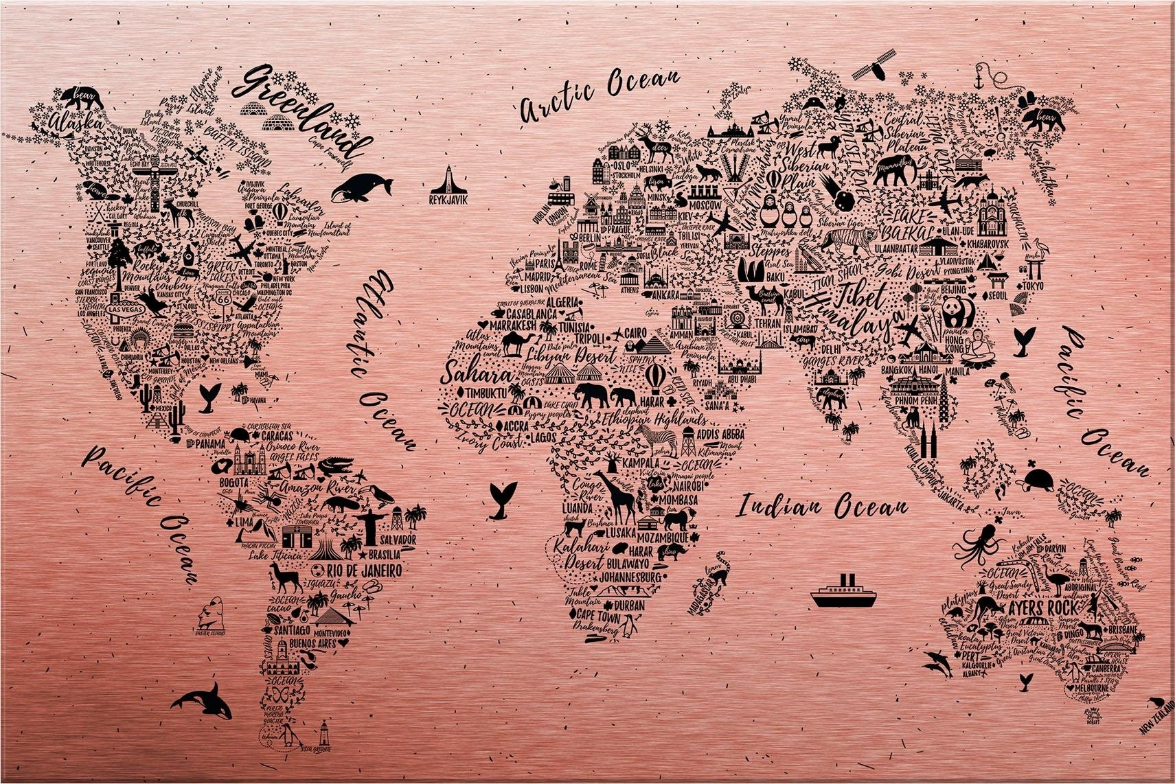 Wall-Art metalen artprint Wereldkaart - Around the world Afmeting (bxdxh): (120x0,3x75 cm) bestellen: 30 dagen bedenktijd