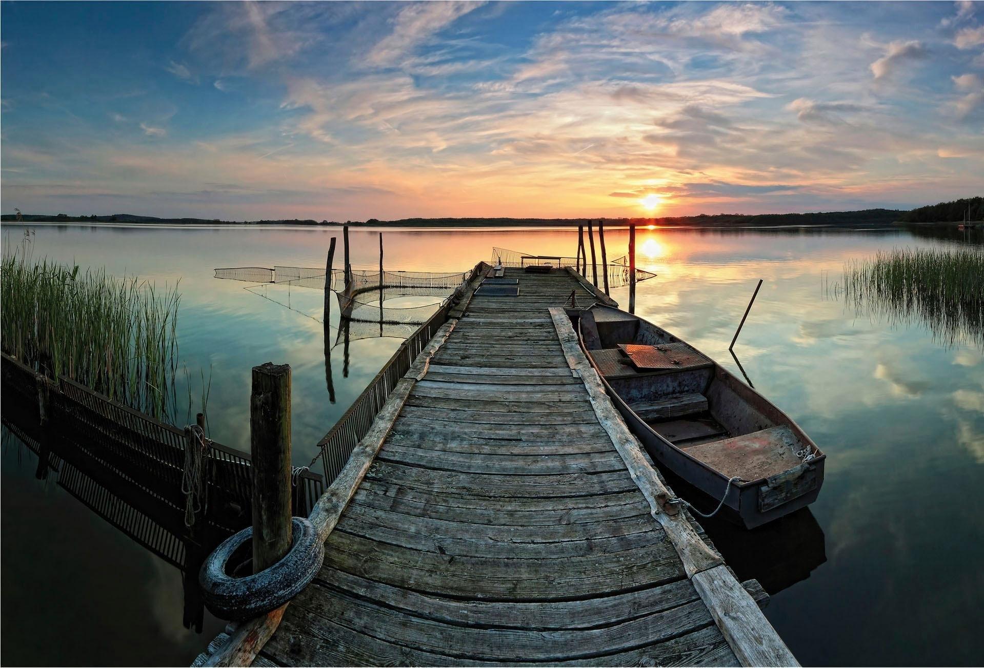 Wall-Art vliesbehang Sunset at the lake nu online kopen bij OTTO