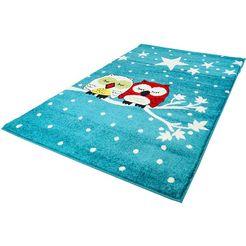 carpet city vloerkleed voor de kinderkamer moda kids 1513 uilmotief, laagpolig blauw