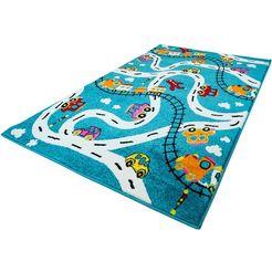 carpet city vloerkleed voor de kinderkamer moda kids 1511 kinderkleed met stratenmotief, korte pool blauw