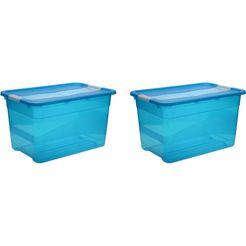 keeeper bewaarbox met deksel, 59,5 x 39,5 x 34 cm, 52 liter, set van 2, »cornelia« blauw