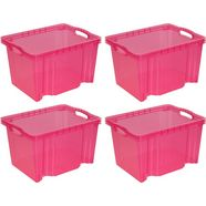 keeeper transparante multibox mt. m, 35 x 27 x 21 cm, 13,5 liter, set van 4, »franz« roze
