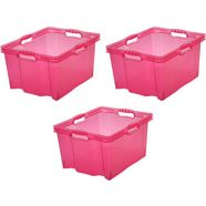 keeeper transparante multibox mt. xl, 43 x 35 x 23 cm, 24 liter, set van 3, »franz« roze