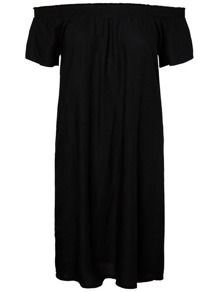 Pieces Effen off-shoulder jurk zwart